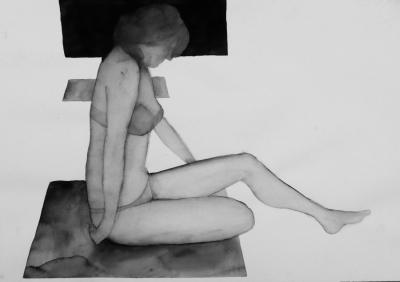 ženský akt 10, akvarel na papieri, 40x30 2008, mária matrková