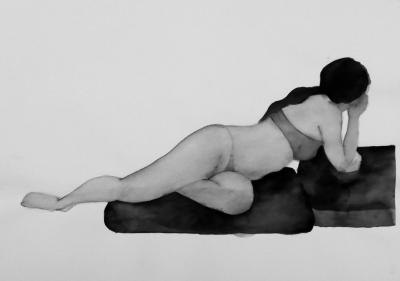 ženský akt 11, akvarel na papieri, 40x30 2008, mária matrková