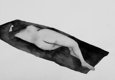 ženský akt 12, akvarel na papieri, 40x30 2008, mária matrková