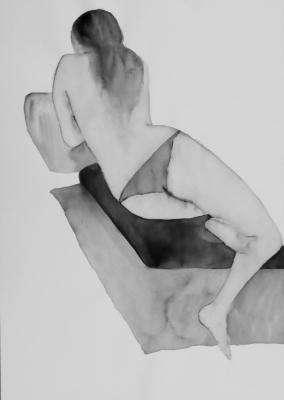 ženský akt 13, akvarel na papieri, 40x30 2008, mária matrková