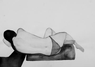 ženský akt 14, akvarel na papieri, 40x30 2008, mária matrková