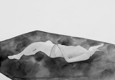 ženský akt 15, akvarel na papieri, 40x30 2008, mária matrková