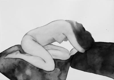 ženský akt 16, akvarel na papieri, 40x30 2008, mária matrková