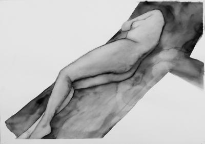 ženský akt 2, akvarel na papieri, 40x30 2008, mária matrková