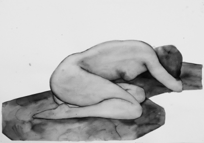 ženský akt 3, akvarel na papieri, 40x30 2008, mária matrková