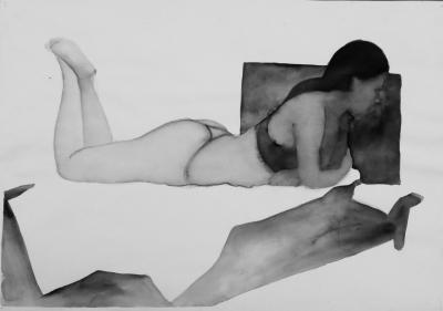 ženský akt 5, akvarel na papieri, 40x30 2008, mária matrková