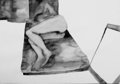 ženský akt 6, akvarel na papieri, 40x30 2008, mária matrková