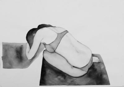 ženský akt 7, akvarel na papieri, 40x30 2008, mária matrková