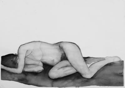 ženský akt 8, akvarel na papieri, 40x30 2008, mária matrková
