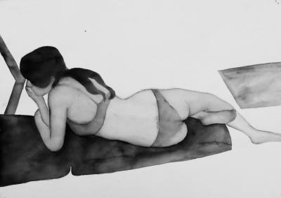 ženský akt 9, akvarel na papieri, 40x30 2008, mária matrková
