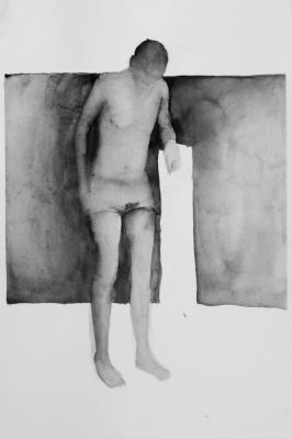 muž, akvarel na papieri, 40x30 2008, mária matrková