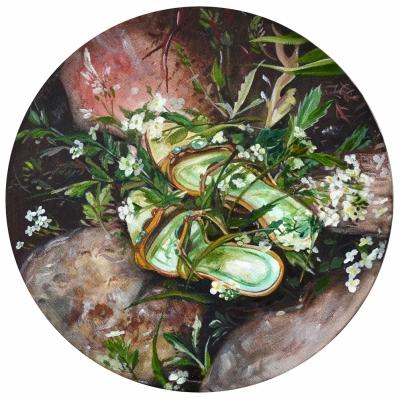 2.Sandals oil on canvas priemer 30 cm 2016