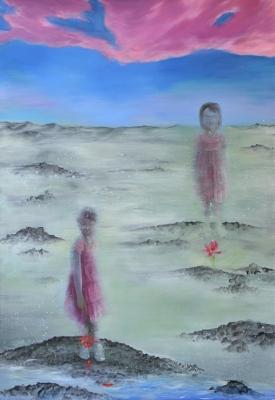 7. Ruzovy oblak oil on canvas 195x135 cm 2013