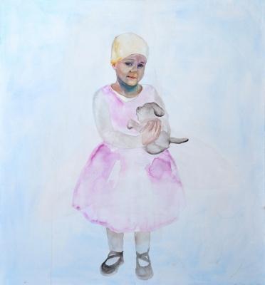 9. Mária Matrková Laura s hrackou acrylic on canvas 130x120 cm 2014