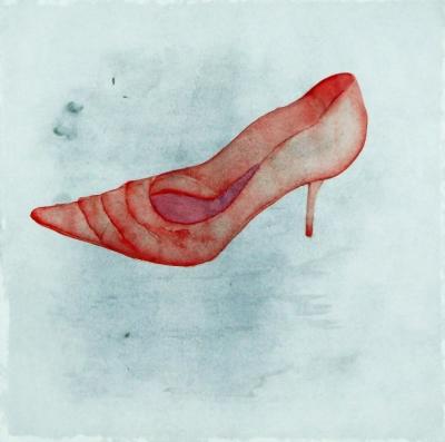 červená črievička, akvarel na papieri, 30x30, 2008, mária matrková