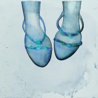 modré črievičky, akvarel na papieri, 30x30, 2008, mária matrková